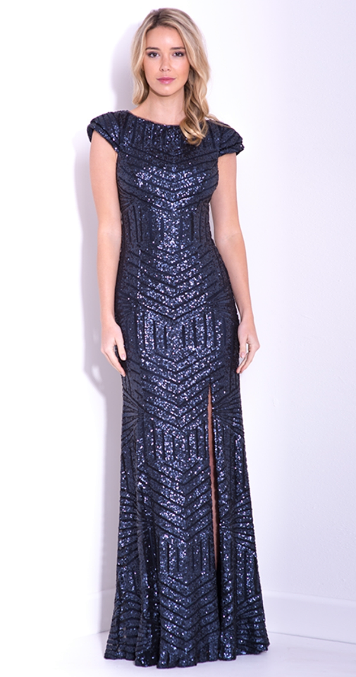 Cathrine Sequin Gown Navy - Size 14 - The Higher Boutique